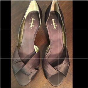 SZ 9.5 Brown satin open toe heels